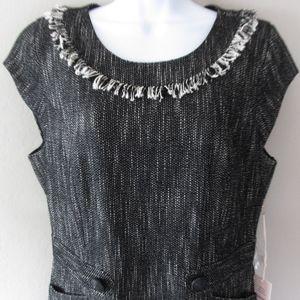 Nanette Lepore Dress Black Tweed Fringe 12 New